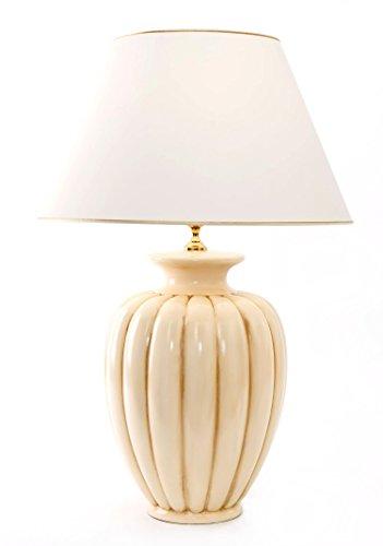 Tischleuchte Palazzo antico aus Keramik beige weiß antik | Tischlampe E27 | Handgefertigt in Italien | Exklusive Leuchte mit 24 Karat Gold Veredelung