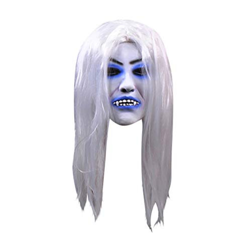 (Blaward Blutende weißhaarige Hexe Horror Maske Halloween Kostüm Party Latex Maske)