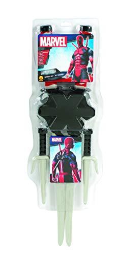 (Fancy Ole - Kostüm Accessoires Zubehör Deadpool Waffen Set mit 2 Ninja Messer & 2 Schwerter incl. Rucksack, perfekt für Karneval, Fasching und Fastnacht, Weiß)