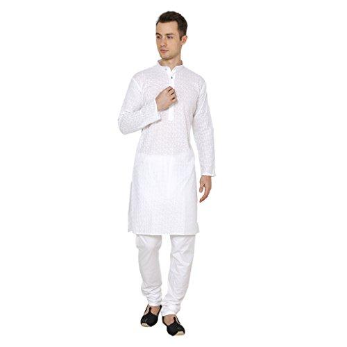 Ruchi Mart Baumwolle Ethnische Männer Designer Kurta-Pyjama Traditionelle Partei-Abnutzungs-weißes Kleid (Kurta Herren Designer)
