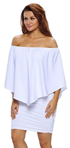 La Vogue Vestido Corto con Volantes para Mujer Cóctel Múltiples Formas Blanco Delgado Talla L/Busto 94-118cm