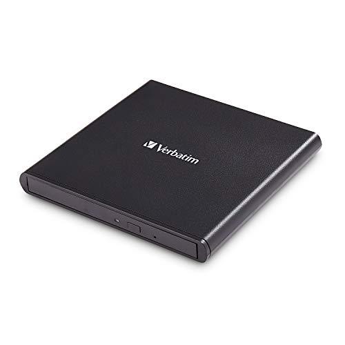 Verbatim Externer Slimline CD/DVD-Brenner, mobiles externes Laufwerk zum Brennen, schnelle Datensicherung, mit Nero Burn & Archive, 98938
