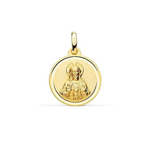 Medalla Oro 18K Escapulario 16mm. Virgen Del Carmen Corazón De Jesús Bisel