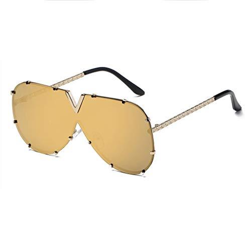 DX Brillengläser Männer Frauen V Wort Outdoor-Sportarten Komfort Fit Langlebig Schlupf Anti-Augen-Ermüdung Anti-UV-Schutz Brille Polarisierte Sonnenbrille (Farbe: Goldrahmen Goldlinse)