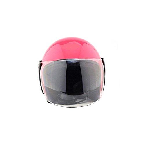 Casco in stile vintage, semi-integrale, unisex, con visiera parasole, per moto e scooter, colori: blu, rosa, rosso, argento, giallo