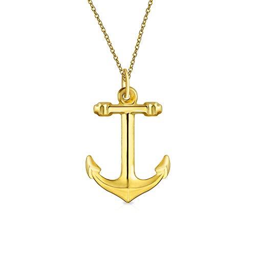 14K Gelb Gold Poliert Nautische Boot Anker Anhänger Halskette Für Damen Herren 18 Zoll Gold Kette - Winzige Gold-charme-halskette