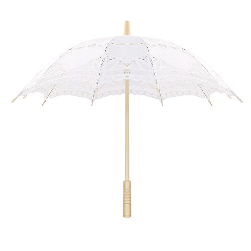 Sweetme Sonnenschirm Spitze Brautschirm Damen Regenschirm Hochzeit Gesticktes Cotton Vintage...