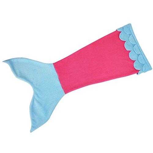 Tagesdecke Fleece Decke Schlafsack Meerjungfrau Schwanz-flosse Kuscheldecke Mädchen Kostüm perfekt für alle Jahreszeiten (Blau-rosa, Small)