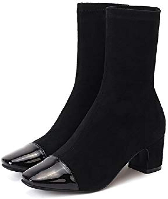 Liuxc Chaussures femme élastiques Chaussettes à piqûres élastiques femme à Talons épais pour FemmesB07JVNVFJJParent 274d93