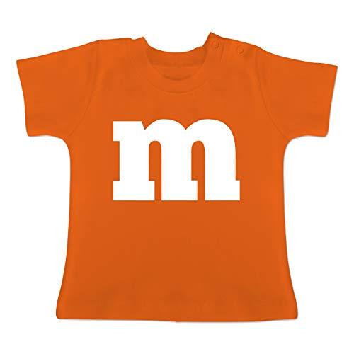 Karneval und Fasching Baby - Gruppen-Kostüm m Aufdruck - 1-3 Monate - Orange - BZ02 - Baby T-Shirt Kurzarm (3 Gruppe Für Kostüm)