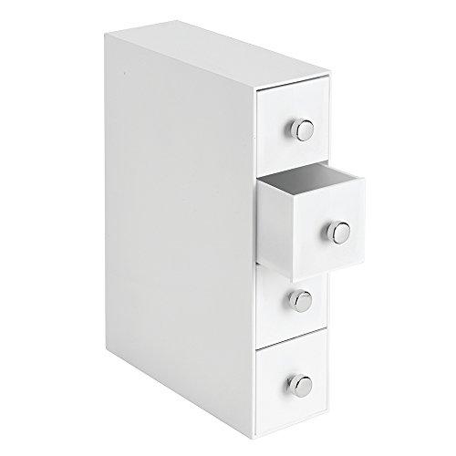 Interdesign drawers mini cassettiera per make up o cancelleria, organizer trucchi ribaltabile con 4 cassetti, portaoggetti per bagno o scrivania, plastica bianco