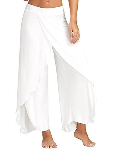 Minetom Casual Pantalons Jambe Large Pour Femme Epurée Fendue Grande Taille Jupe-Culotte Bouffant Elastique Extensible Palazzos Yoga Blanc EU