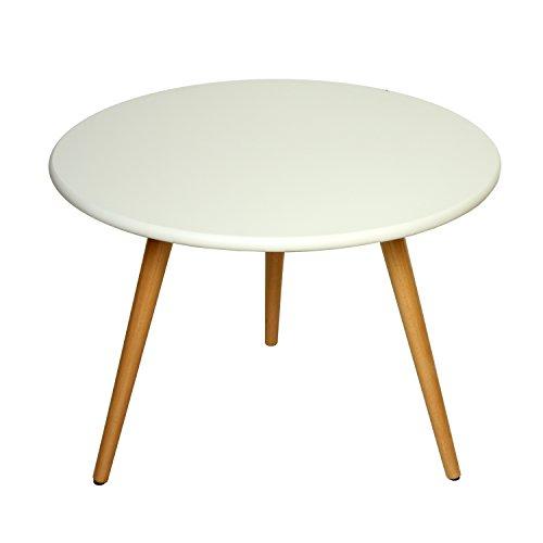 PAME 40759 Table d'appoint Ronde Bois de chêne Blanc 48 x 45 cm