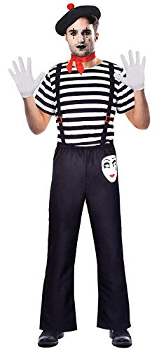 te French Mime Artist Theatrical Circus Performer Carnival Fancy Dress Costume Outfit STD & Plus Size (Plus Size) ()