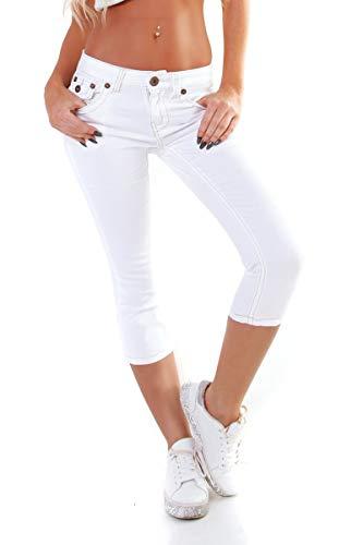 OSAB-Fashion 4951 Damen Jeans Hose Capri-Style 7/8-Länge Skinny Slimfit Low-Waist - Weiße Capri-jeans