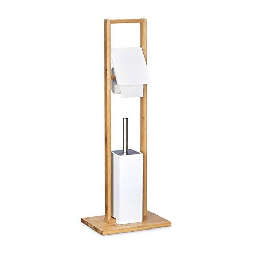 Relaxdays Stand WC Garnitur aus Bambus, Bürstenhalter m. Toilettenbürste u. Rollenhalter, freistehende Garnitur, Natur