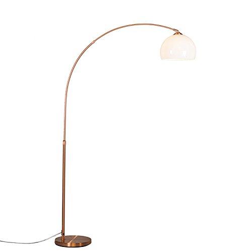 QAZQA Landhaus / Vintage / Rustikal / Modern / Bogenleuchte / Bogenlampe / Lampe / Leuchte Arc kupfer mit weißem Schirm / Innenbeleuchtung / Wohnzimmer / Schlafzimmer Kunststoff / Metall / Rund LED ge