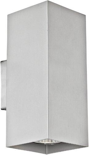 1-licht Halogen-wand-lampe (Eglo 1 Halogen-Alu-Wohnraum-Wand-Leuchte / Innenbereich / Madras / Alu / 7.5 x 18.0 x 10.0 cm / inkusiv Leuchtmittel / GU10 / 2 x 50 W 87019)