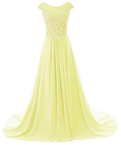 Abendkleider Ballkleider Brautjungfernkleid Hochzeitskleider Lang Chiffon A Linie Gelb EUR44