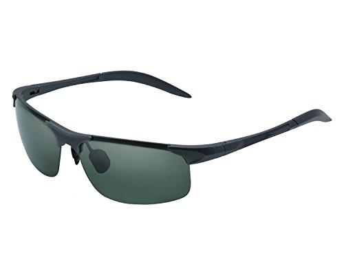 Yidarton Herren Sportbrille Ultraleicht AL-MG Metallrahmen Polarisierte Sonnenbrille Fahrerbrille (Grau/Armee-Grün) (Erwachsenen Angel Outfit)