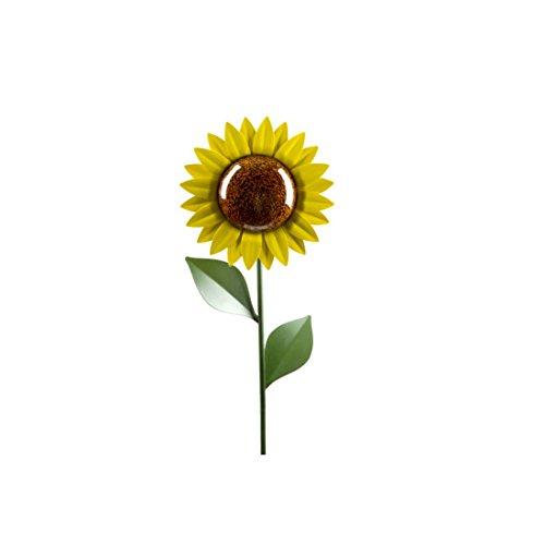 Sonnenblumen Garten (insatech Große Solar LED Sonnenblume aus Metall u. Glas mit Erdspieß Solarleuchte Blume Solarblume 1m Höhe)