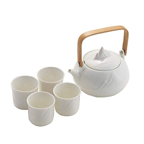 Hetoco Japanese Classic White Ceramic Tea Set with Mountain Pattern,Teapot & 4 Teacups.