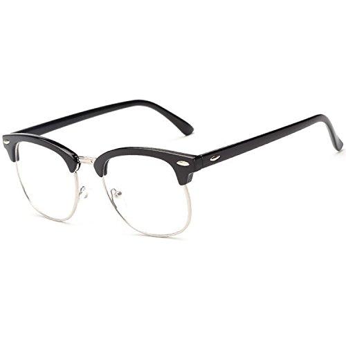 Vococal Mode Classic Half Metal Frame Umrandeten Brillenfassungen/Unisex Plain Klar Linse Brillengestelle/Brillen Frame Dekorativ Zubehör für Myopie Brille, Helles Schwarz + Silber