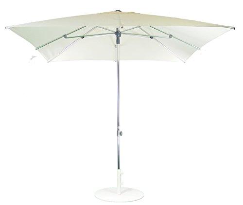 SORARA Sonnenschirm Parasol | Creme | 250 x 250 cm / 2.5 x 2.5m | Viereckig/Quadratisch Milano | Polyester 250 g/m² (UV 50+)| Push Up Mechanismus | Mastdurchmesser Ø 38 mm (excl. Base)