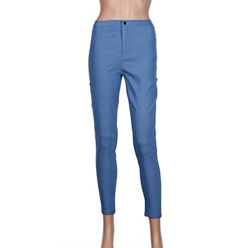 UFACE Frauen Hohe Taille Stretch Bleistift Hosen Jeans Neue Mode Multi Farben Mädchen Lässige Jeans Hosen (2XL, Blau) (Multi Farbe Gestreiften Pant)