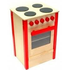 Unbekannt Holzofen / Kinderherd / 4 Kochfelder, 5 Drehschalter, Backofen mit aufklappbarer Tür + 1 Backblech / Maße: 30 x 30 x 55 cm / für Kinder ab 2 Jahren Geeignet