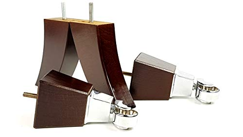 Knightsbrandnu2u 4x Massivholz Möbel Beine Ersatz Castor Füße für Sofas, Stühle, Sofas, Hockern-M8(8mm)-tsp2013_ ch171, braun im antik-Finish, M8(8mm) - Mahagoni-holz-finish Couchtisch