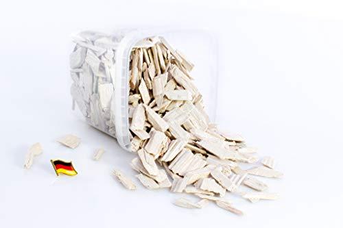 monsterkatz Set 2 x Deko Rindenmulch/Holzstücke Hedwig, glänzend Creme, 2-10cm, 1,1l Box, Made in Germany - Deko Mulch/Holzflakes / Holzgranulat/Dekormulch