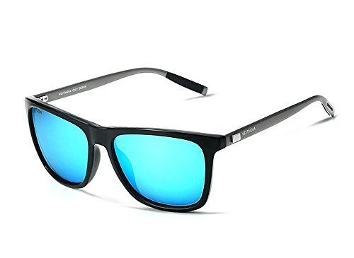 VEITHDIA Polarisierte Sonnenbrillen Herren UV400 Schutz Herren Sport Stil Polarisierte Sonnenbrille Metallrahmen Brille 6108 Blau