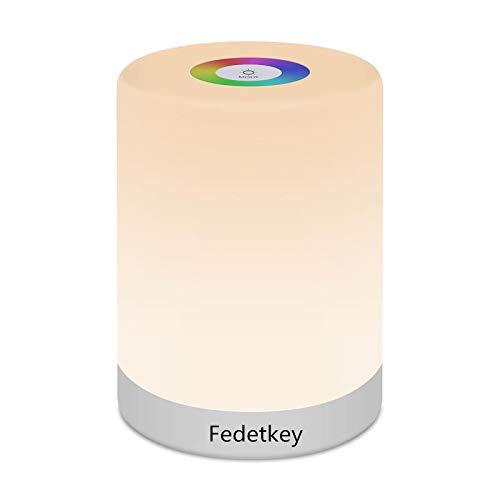 FiDi Tek Lámpara LED Luz Nocturna Regulable, Infantil, Diseño de Control Táctil, para Escritorio Recargable y Camping, 2.4 W