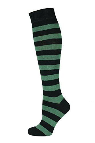 ohe lange Socken Streifen Grün Schwarz ()