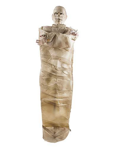 toybakery - Halloween Dekoration Deko stehende lebensgroße Mumie mit Licht Geräusch und Bewegung, 180cm, Standing Mummy with Light Sound and Movement, ideal für Jede Halloween Party / Feier, Creme