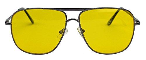 amashades Vintage Classics Old School Brille 80er Jahre Brillengestell Square Aviator Herren Sonnenbrille oder Nerdbrille mit Klarglas F20 (Gunmetal/Shooter)