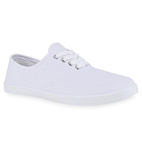 Sportliche Damen Herren Sneakers | Unisex Basic Freizeit Schuhe | Schnürer Stoffschuhe | Prints viele Farben Weiss Silber