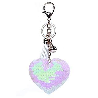 KYMLL Glitter Pailletten Herz Keychain Ringe Quaste Pailletten Liebe Herz Metall Ball Anhänger Frauen Tragen Zubehör Autozubehör