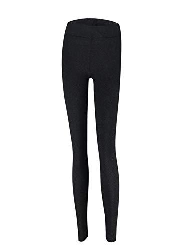 MOIKA Femmes Taille Haute Yoga Legging Fitness Course Pantalon Extensible Sportif à Pantalons Cigarette(Noir,Large)