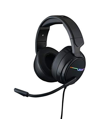 THE G-LAB Korp THALLIUM Casque Gaming USB Son 7.1 Digital Surround - Micro Casque Gamer Audio Haute Qualité - Microphone à réduction de bruits - LED RGB - Compatible PC PS4 Mac (Noir)