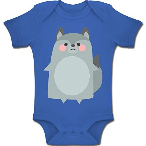 Shirtracer Karneval und Fasching Baby - Fasching Kostüm Wolf - 6-12 Monate - Royalblau - BZ10 - Baby Body Kurzarm Jungen Mädchen