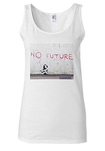 BANKSY No Future Kid Children Baloon White Women Vest Tank Top **Blanc