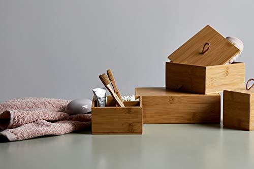 Wenko Bambus Box Terra L mit Deckel - Aufbewahrungsbox, Badkorb, Bambus, 22 x 7 x 15 cm, Braun