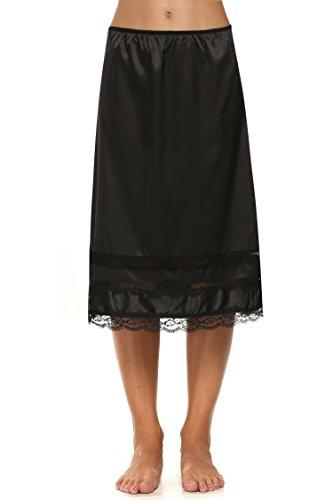 Avidlove Damen Lang Rock Spitzen Unterrock Halbrock Unterkleid Petticoat Einfarbig Schwarz Miederröcke Halbslip