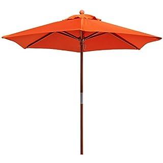 anndora® 21001 VS – Sonnenschirm Standard, 2,1 m, rund, Garten oder Balkon, aus Holz, 180 g/m², 210 cm Orange / Mandarin