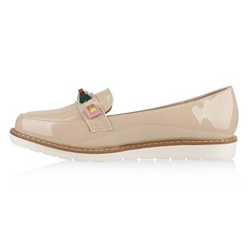 Damen Loafers Quasten Glitzer Slipper Profilsohle Dandy Geek Creme Nieten