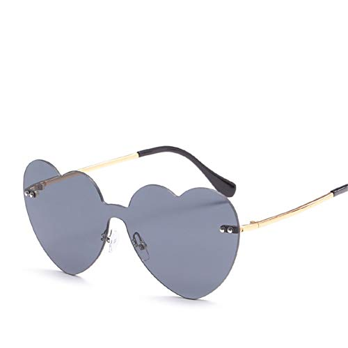 Wenkang Women Love Heart Rimless Sunglasses Designer Gradient Color Ladies Sun Glasses Fashion Ladies Eyewear Uv400,1
