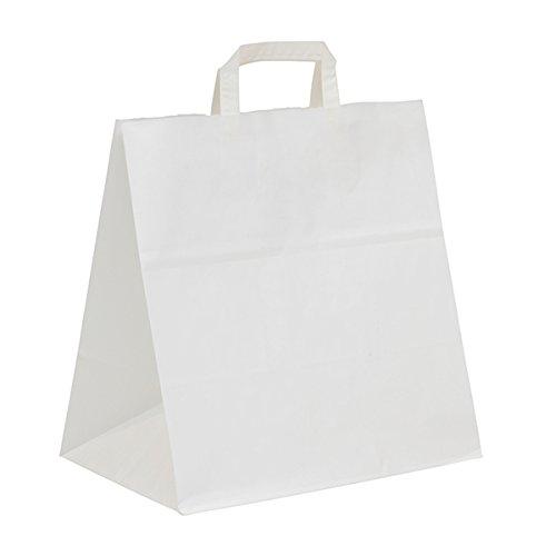 Papier Tragetaschen weiß 27+17x29cm mit Flachhenkel, 300 Stück, aus Kraftpapier