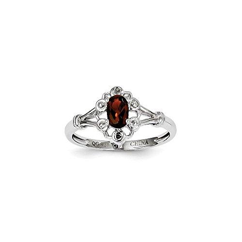 Diamond2Deal - Sterling-Silber 925 Sterling-Silber Ovalschliff Red Granat (Diamant-hochzeit-sets 2 Karat)